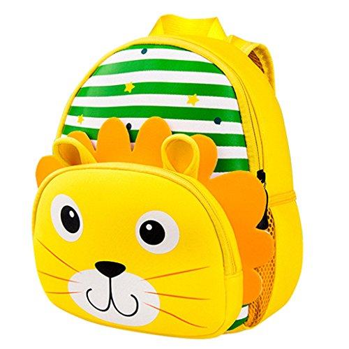 Kinderschultaschen,Kinderrucksack Kleinkind Jungen Mädchen Schultaschen Kindergarten Cartoon Rucksack Schulter Bookbags Brotdose (2-6 Jahre alt)(Löwe)