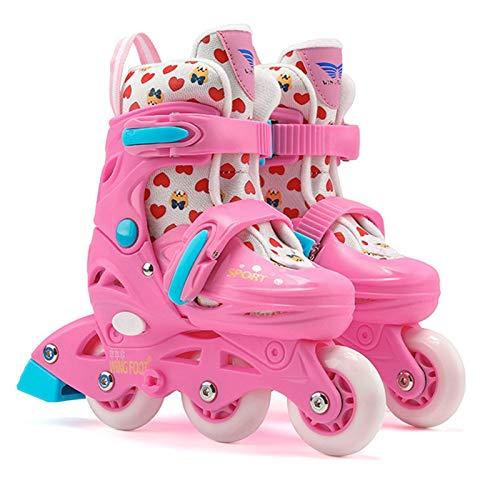 WFSH Patines de Rodillos en línea, Patines de Rodillos Ligeros Ajustables para niños con Ruedas Luminosas, Patines para niñas Size : Medium(30-33)