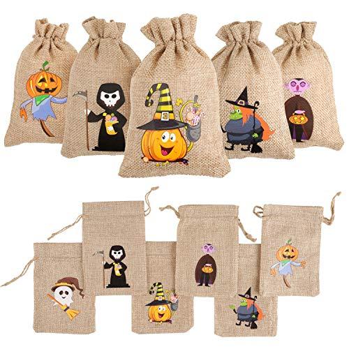 DIYASY 48 Stück Halloween-Geschenktüten aus Jute, Leckerli-Taschen mit Kordelzug für Kinder, Halloween-Partygeschenk.
