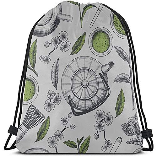 BOUIA Kreative Retro Home Küche Teekanne String Rucksack Mädchen Polyester Taschen Kordelzug Eine Kordelzug Tasche für Fitness-Studio Reisen