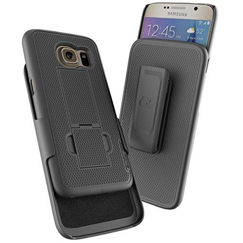 Samsung Galaxy S7 (Ultra Thin) Belt Case & Holster Clip w/KickstandEncased Ultra Slim GripShell for Samsung Galaxy S7 [New 2016 Release] (Black)