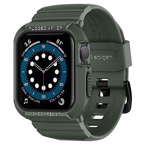 Spigen Rugged Armor Pro Kompatibel mit Apple Watch Hülle für 44mm Serie 6/SE/5/4 - Militärgrün