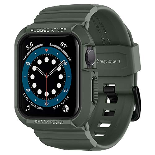 Spigen Rugged Armor PRO Compatibile con Apple Watch Custodia con Cinturino per 44mm Series 6/SE/5/4 - Verde Militare