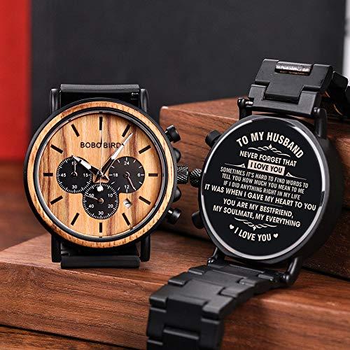 BOBO BIRD Mens Personalized Engraved Wooden Watche, Stylish Wood