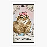 Leyland Designs The World Funny Cat Vine Tarot Card Sticker Outdoor Rated Vinyl Sticker Decal for Windows, Bumpers, Laptops or Crafts 5'