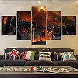Yoplll Decoración Moderna Casa Dormitorio Pared 5 Piezas Impresión Hd Cartel De Lienzo Cuadros Pinturas Modulares Arte Cartel Del Juego Eterno(Enmarcado)