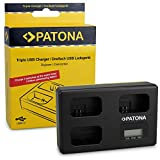 PATONA Triple Cargador para NP-FW50 Batería Compatible con Sony Alpha 33, A55, NEX-3, NEX-5 con USB Type C Cable