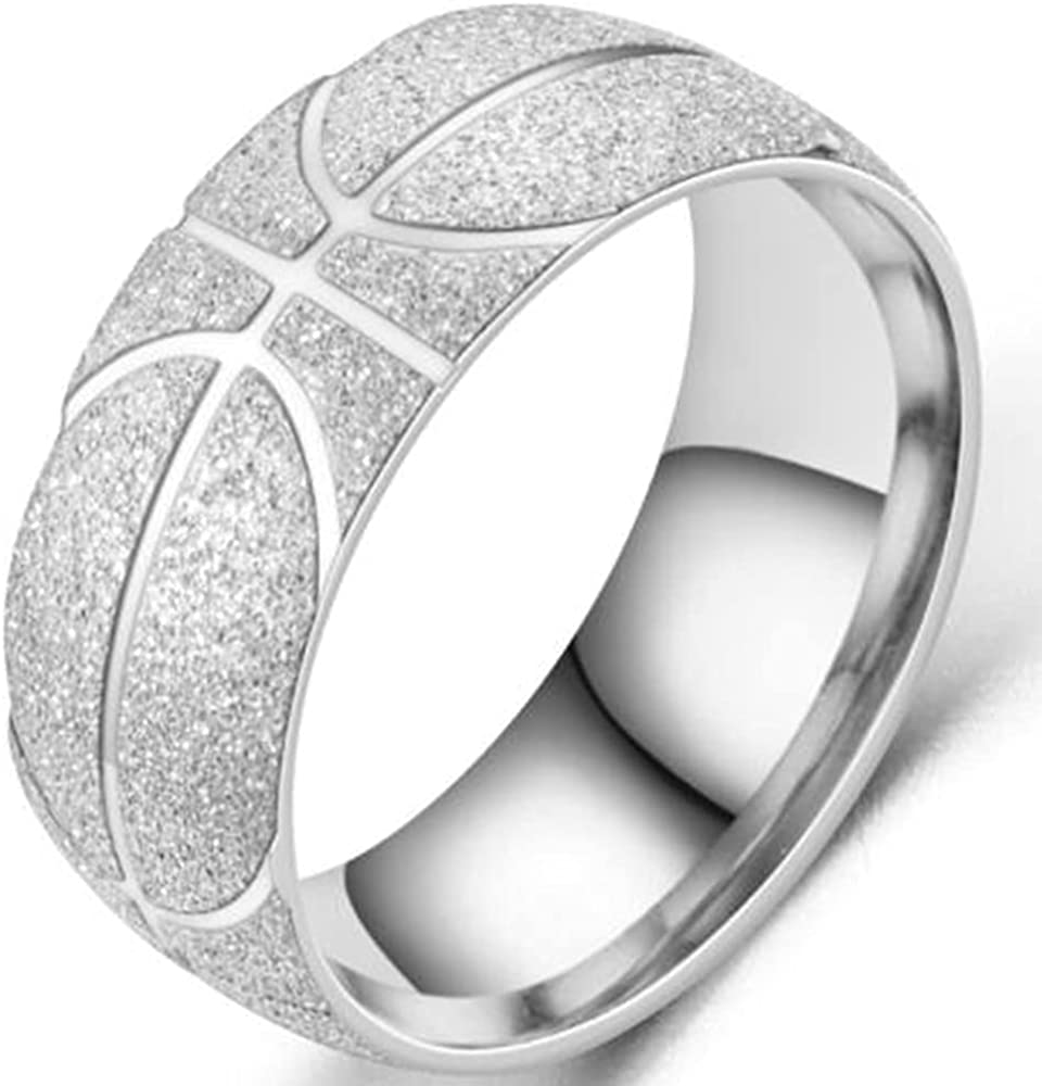 8mm Stainless Steel Basketball Pattern Brushed Sports School Band Style Ring
