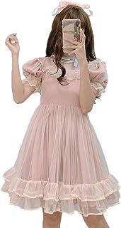 فستان لوليتا ياباني صيفي من الدانتيل للفتيات في سن المراهقة بكشكشة ناعمة لطيفة على شكل حرف A فساتين حفلات الأميرة