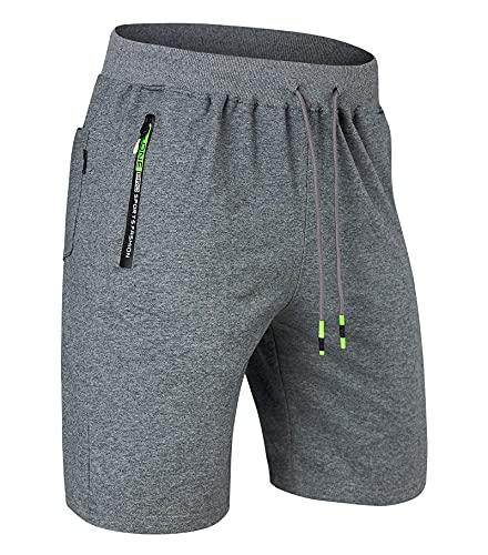 Belovecol Kurze Hosen Herren Shorts Sporthose Kurz Running Joggen Gym Sport Trainingshose mit Taschen, Dunkelgrau, XL