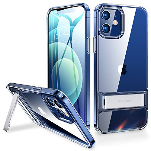 TORRAS MoonClimber Designed for iPhone 12 Case/Designed for iPhone 12 Pro Case [Armor-Level Protection] with Adjustable Kickstand Slim Shockproof Phone Case 6.1 inch, Clear