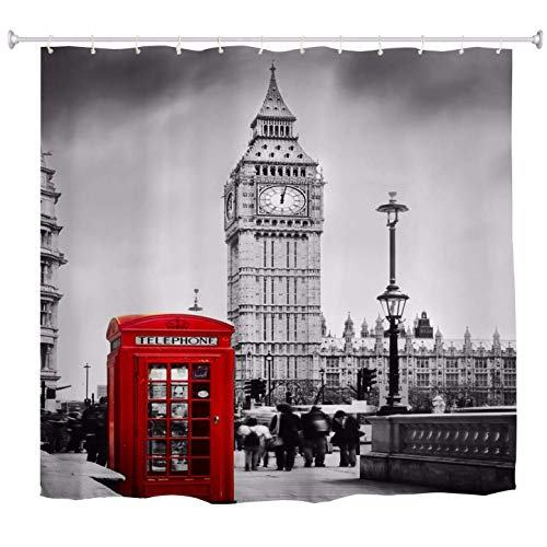 lovedomi Red Telephone Box London City Big Ben Building Black and White Printed Bathroom Decoration Shower Curtain Waterproof Polyester Fabric Shower Curtain 72X72 Inch Bathroom Accessory Set