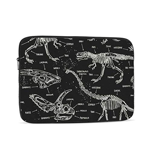 KXT Dark Dinosaur Skeletons Laptop Sleeve,Carrying Bag Chromebook Case Notebook Bag Tablet Cover