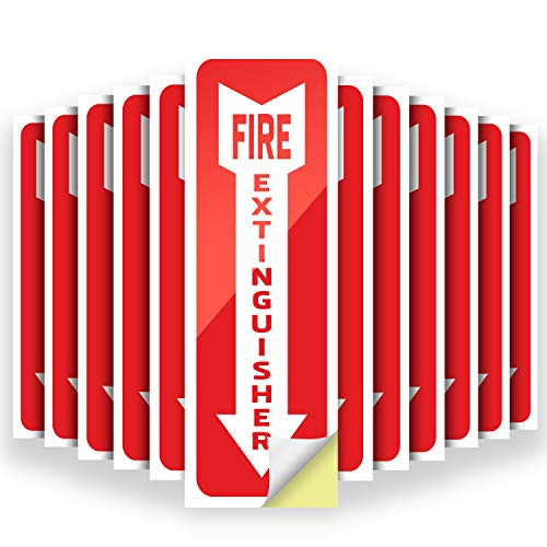 12 Pack Fire Extinguisher Signs Stickers – Premium Self-Adhesive Vinyl Decal Fire Extinguisher Signs - UV Protected & Waterproof Stickers - Indoor & Outdoor Use