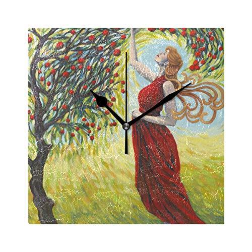 DEZIRO Blessing The Harvest Art Red Tree Girl Print batteriebetriebene Wanduhr groß Schreibtisch Uhr Ständeruhr Zimmer/Schlafzimmer/Home/Büro/Schule