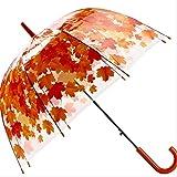 GJJDF Forme de Champignon Transparente Unbrellas Parapluies à Bulles Feuille d'érable Feuilles Vertes Modèle Coupe-Vent Coupe-Vent Coupe-Vent Long Manche Rouge