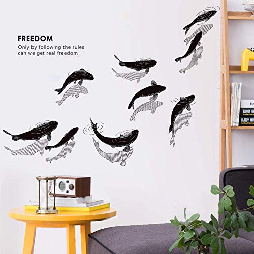GAOF Simple Nuevo Chino decorativo sala de Estar sofá etiqueta de la pared personalidad literaria estudio de peces pequeños Papel tapiz calcomanías