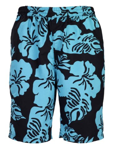 Bugatti® - Moderne Herren Badeshort mit Blumenmuster in schwarz/Jade, Größe XXXL