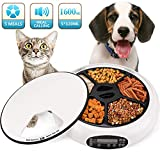 Automatic Feeder Cat Dogs Pet Timed Feed 5 Meal Trays Dry Wet Food Dispenser with Voice Remind LCD Smart...