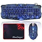 BlueFinger Gaming Keyboard and Mouse,USB Wired Backlit Gaming Mouse and Keyboard Combo,Letters Glow, 3 Color Crack Backlit,Illumination Keyboard and Mouse Set for Game and Work (Renewed)