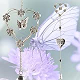 BANBERRY DESIGNS Garden Bell Chimes - Butterfly and Heart with Mobile Design - Metal Silver Hearts, Butterflies and Flowers - 40 Inches Long - Sturdy S Hook Hanging