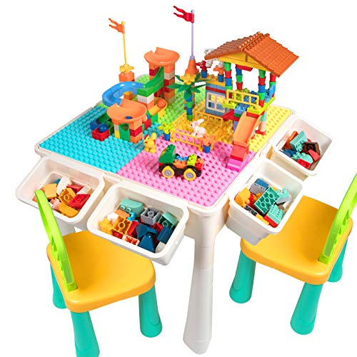 Upgrade Toddler Activity Table, Kids Table & Chair Set with 230PCS Building Blocks All-in-One Multi Activity Playset and Water Table Sand Table, Versatile Toys for Toddlers 3 4 5 6 Year Old