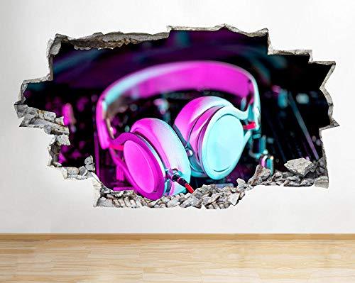 Pegatinas de pared Auriculares Neon Music Decks Smashed Wall Sticker Kids Room Vinilo 3D Póster Arte 3D Mural 50x70cm