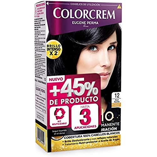 Colorcrem - Tinte permanente mujer - Tono 12 Azul Noche, con tratamiento nutri-protector al aceite de Argán. + 45% de producto   Disponible en más de 20 tonos.