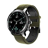 Tinwoo Smart Watch for Android / iOS Phones, Health Tracker with Heart Rate Monitor, Bluetooth Sports Monitor Tracker, Digital Smartwatches for Women Men, 5ATM Waterproof (PU Band Green) (Renewed)