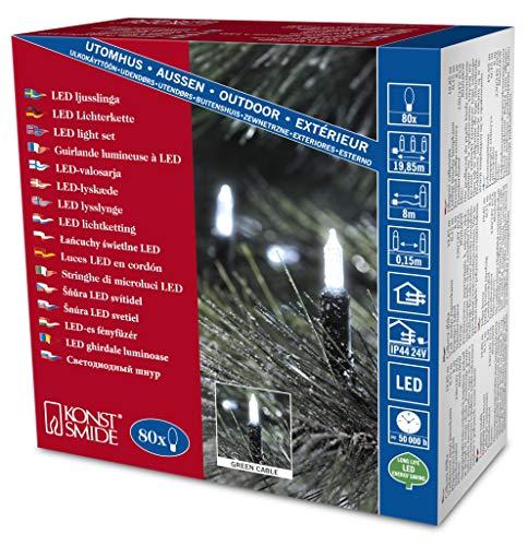 Konstsmide 6020-200 / Catena di miniluci LED / 80 diodi bianco freddi / 24V trasformatore da esterno / cavo verde