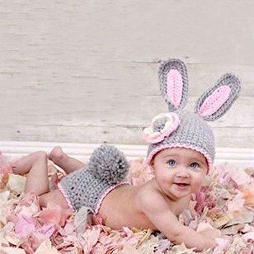 Gris conejo, recién nacido bebé niña/niño ganchillo Costume Foto Fotografía Prop sombreros trajes