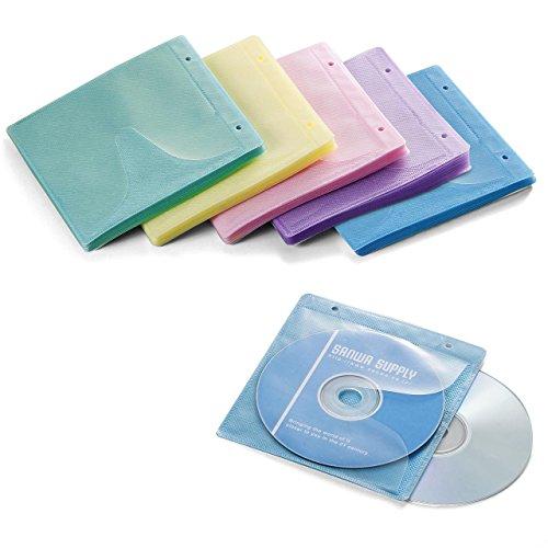 サンワダイレクト 不織布ケース CD・DVD用 100枚入り 両面収納 インデックスカード付 リング穴付き ミックス 200-FCD007MX