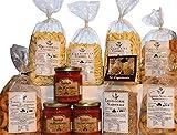 Despensa de los grandes sabores Bell'Olio di Puglia. Productos típicos italianos. Pasta artesana de sémola de trigo duro en varios formatos. Salsas preparadas, Scaldati Taralli y Lentejas Murgia