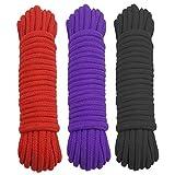 Ldouxx - Juego de 3 cuerdas de algodón suave de 10 m para manualidades artísticas, 8 mm de diámetro, cuerdas trenzadas, color negro, rojo y morado