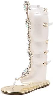Dear Time Women Gladiator Flats Sandals Summer Rhinestone Ankle Strap Buckle Transparent Strip Knee-High Beach Shoes