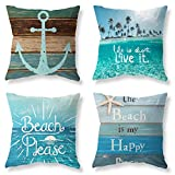 Pack of 4 Decorative Throw Pillow Covers 18x18 Inch Blue Ocean Theme Pillowcases Square Outdoor Cushion Cover Wood Grain Sea Anchor Printing Pillows Covers Home Decor Sofa Car Bedroom Pillow Cover