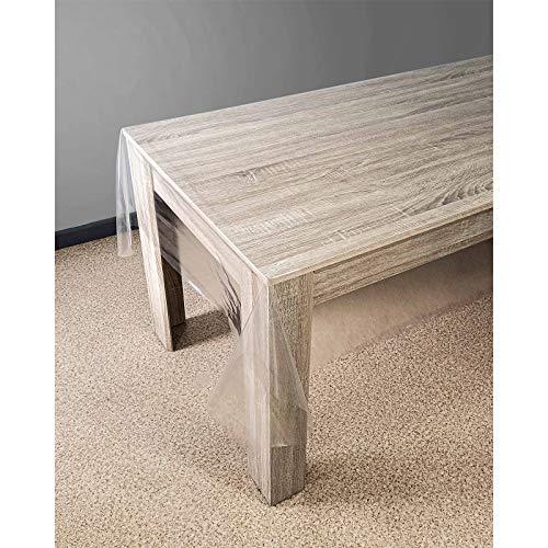 Askol DecoMeister Tischdecke Tischbelag Tischabdeckung Tischtuch Tischfolie Tischplattenschutz Vinyl-Tischdecke Küche abwaschbar Schutzfolie 140x120 cm halbdurchsichtig Glasklar Glatt