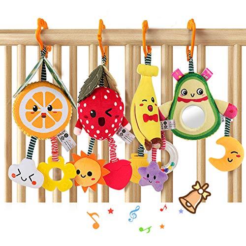 TUMAMA Baby Toys for 3 6 9 12 Months,Hanging Fruit Rattles Avocado,Banana,Orange and Strawberry,Stroller Mobile Toys,Plush Soft Rattles for Boys,Girls, 4 Pack