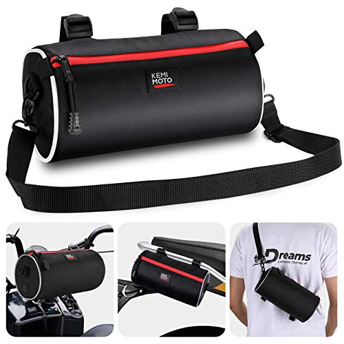 Kemimoto Motorcycle Handlebar Bag with Shoulder Strap, Motorcycle Barrel Bag Tool Roll Bag Honda Ruckus Bag Compatible with Kawasaki Honda Yamaha Harley KTM Suzuki BMW Ducati