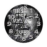 Mannwarehouse - Reloj de pared redondo, diseño de leyendas, conor McGregor, silencioso, estilo retro, sin marco, fácil de leer para el hogar, la oficina o la escuela (10 pulgadas, números árabes)
