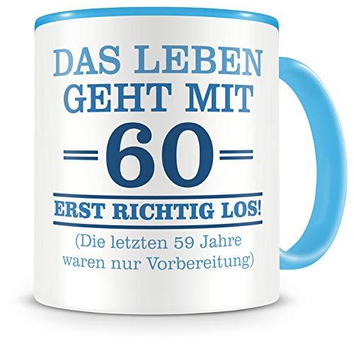 Samunshi® Tasse mit Spruch witzige Geschenke zum 60 Geburtstag Mann Frau Oma Opa Geburtstag Geschenkideen zum 60 Geburtstag (60 Jahre 300ml hellblau/hellblau)