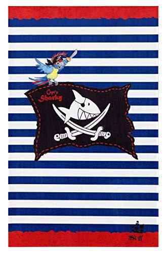 Capt'n Sharky Kinderteppich Weich und Soft, Teppich Piratenflagge 80x150 cm in Rechteck Farbe Blau, Kinderzimmer Teppich Öko-Tex zertifiziert, Bildmotiv für Jungen
