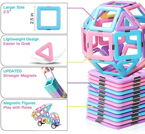 shengqing Magnetic Building Blocks Educational Toys Tiles Set for Boys & Girls Magnet Stacking Block Sets for Kid's Basic Skills Learning & Development Toys-Excellent Children's Gifts(L)