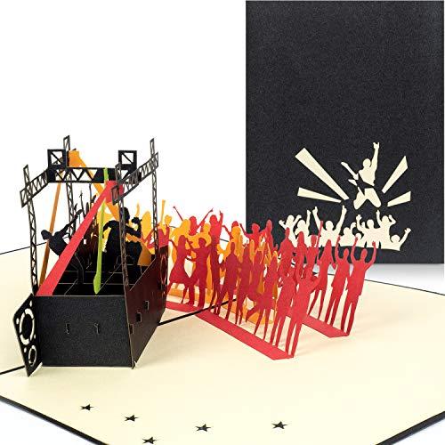 PaperCrush® Pop-Up Karte Konzert - 3D Geschenkkarte für Festival, Gutscheinkarte zum Verschenken von Konzertkarten - Handgemachte Geburtstagskarte inkl. Umschlag