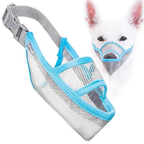 Gentle Mesh Muzzle Guard Dogs - Prevents Biting Unwanted Chewing Safely Secure Comfort Fit - Soft Neoprene Padding – No More Chafing – Included Training Guide Helps Build Bonds Pet (Blue, 1)