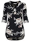 Youtalia Floral Chiffon Blouse, Ladies Casual Chiffon 3/4 Cuffed Sleeve V Neck Floral Blouse Tops Multicolor Black X-Large