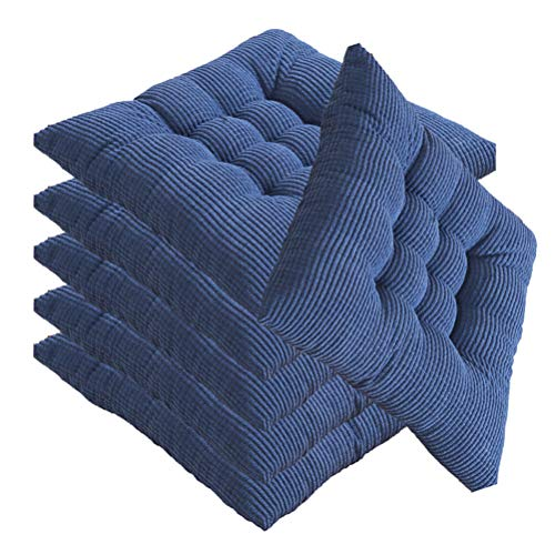 YYRZ Wicker Seat Cushions Outdoor, Cotton Chair Pads, Square Chair Cushion with Ties, Home Cushion, for Rocking, Dining, Patio, Camping, Kitchen Chairs, (40X40cm),Blue,6 Pack