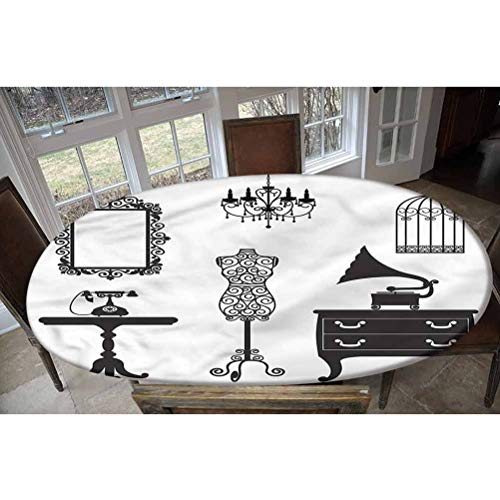 LCGGDB Vintage Elastic Edged Polyester Fitted Tablecolth -Old Fashioned Furnitures- Oval/Olbong Fitted Table Cover - Fits Oval/Olbong Tables up to 48'x68',The Ultimate Protection for Your Table