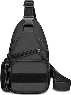 Tactical Shoulder Bag One Strap Chest Sling Pack with USB Port & Bottle Pocket