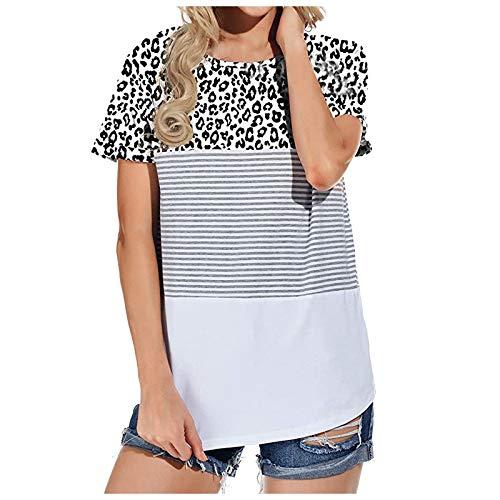 Pistaz - Blusa de manga corta con cuello redondo y rayas a juego para mujer blanco S